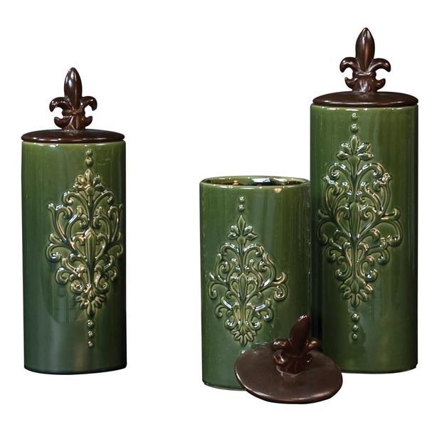 Green/ Pewter Fleur de Lis Embossed Ceramic Vases (Set of 3)