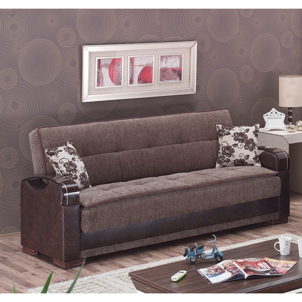 Hartford brown fabric reptile embossed vinyl sofa bed for Sofa bed overstock