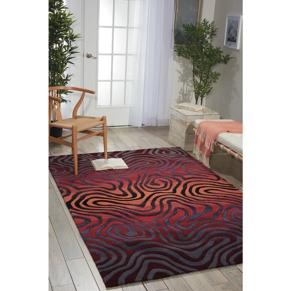 Hand-tufted Sangria Contour Abstract Zebra Print Rug - 7'3 x 9'3