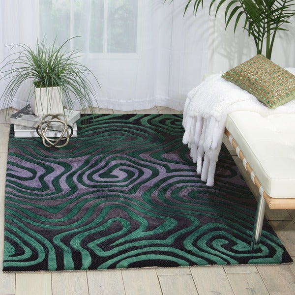 Shop Hand-tufted Teal Contour Abstract Zebra Print Rug