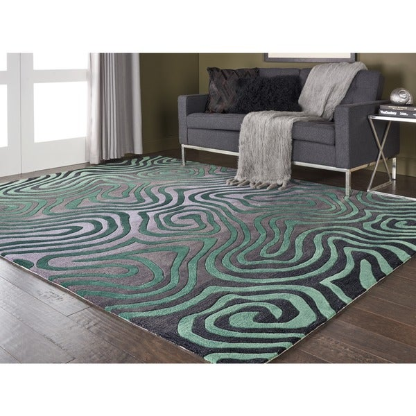 Hand-tufted Smoke/ Teal Contour Abstract Zebra Print Rug (7'3 x 9'3)