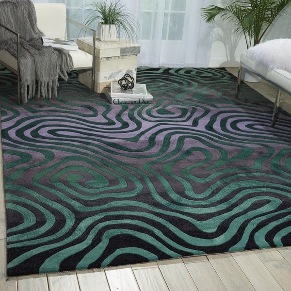 Hand-tufted Smoke/ Teal Contour Abstract Zebra Print Rug (8' x 10'6)