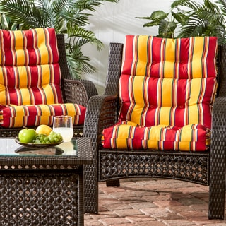 3-section Contemporary Outdoor Carnival High Back Chair Cushion (Set of 2)