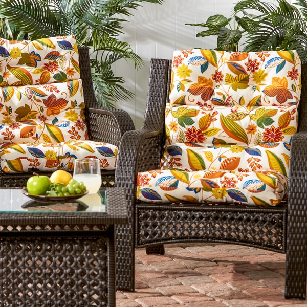 3 section outdoor esprit floral high back chair cushion for Home goods patio furniture cushions