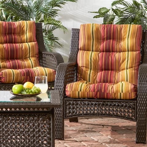 Havenside Home Dewey 3-section Contemporary Outdoor Stripe High Back Chair Cushion (Set of 2)