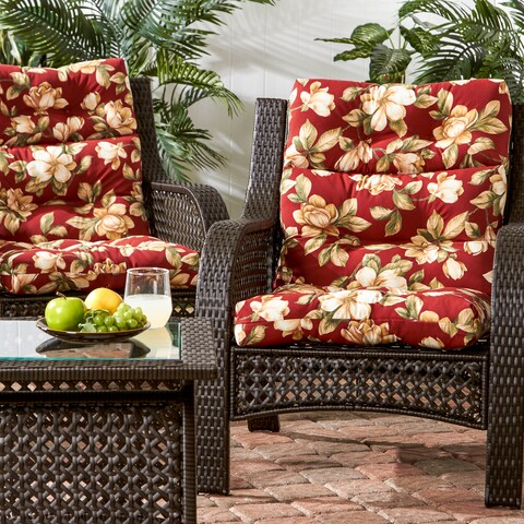 Porch & Den Rosewood Davis Outdoor Floral High Back Chair Cushions (Cushions Only) (Set of 2)