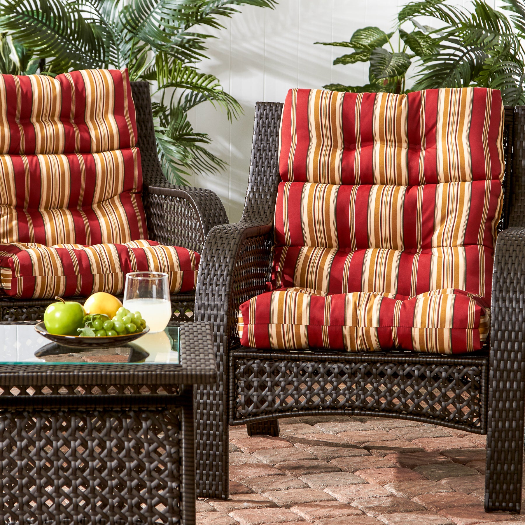 Shop 3 Section Outdoor Roma Stripe High Back Chair Cushion Set Of 2