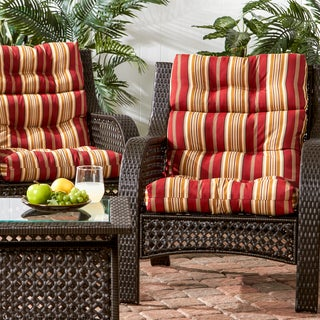 3-section Outdoor Roma Stripe High Back Chair Cushion (Set of 2)