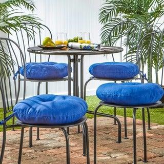 15-inch Round Outdoor Marine Blue Bistro Chair Cushion (Set of 4)
