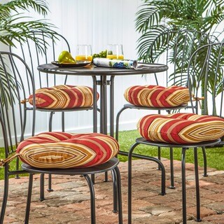 15-inch Round Outdoor Roma Stripe Bistro Chair Cushion (Set of 4)