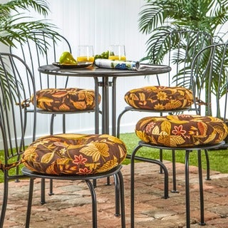 Havenside Home Dana Point 15-inch Round Outdoor Floral Bistro Chair Cushion (Set of 4)