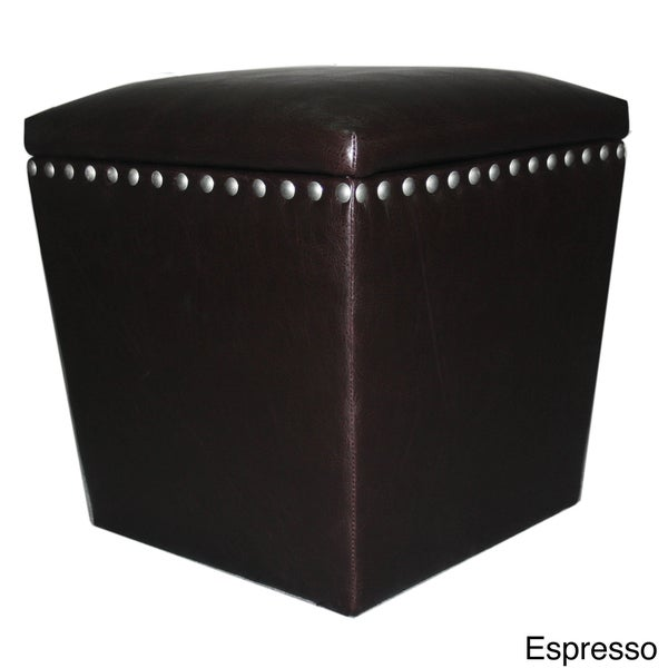 Arlington Split Leather Storage Ottoman Free Shipping Today