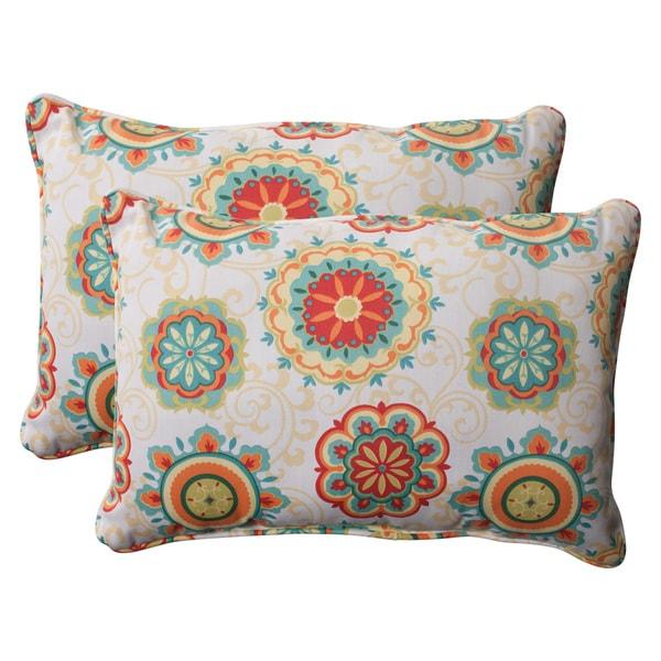 Pillow Perfect Aqua Outdoor Fairington Corded Oversized Rectangular Throw Pillow (Set of 2 ...