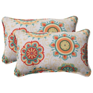 Pillow Perfect Outdoor Fairington Corded Aqua Rectangular Throw Pillow (Set of 2)