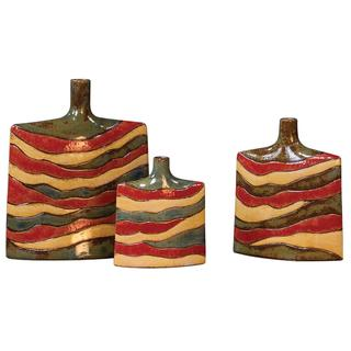 Red Yellow And Sage Green Ceramic Vases Set Of 3 Free