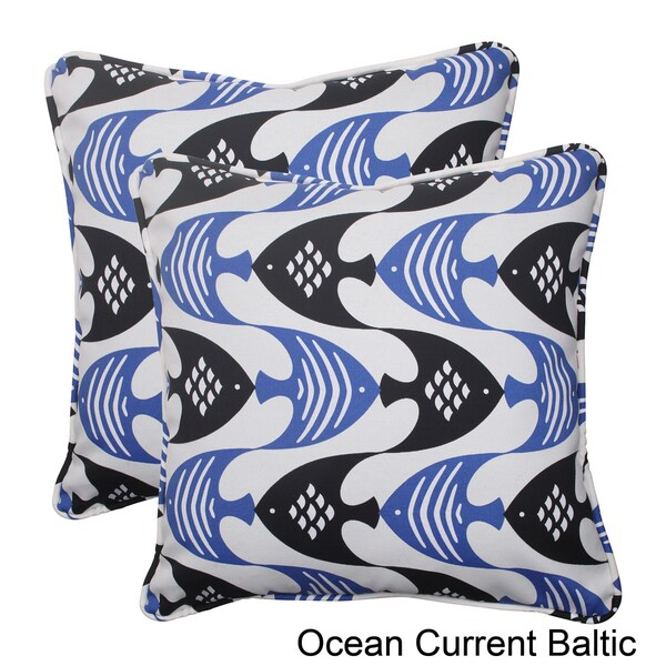 Pillow Perfect Ocean Current Polyester Corded Outdoor Square Throw Pillows (Set of 2)