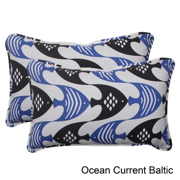 Pillow Perfect Ocean Current Polyester Corded Outdoor Rectangular Throw Pillows (Set of 2)