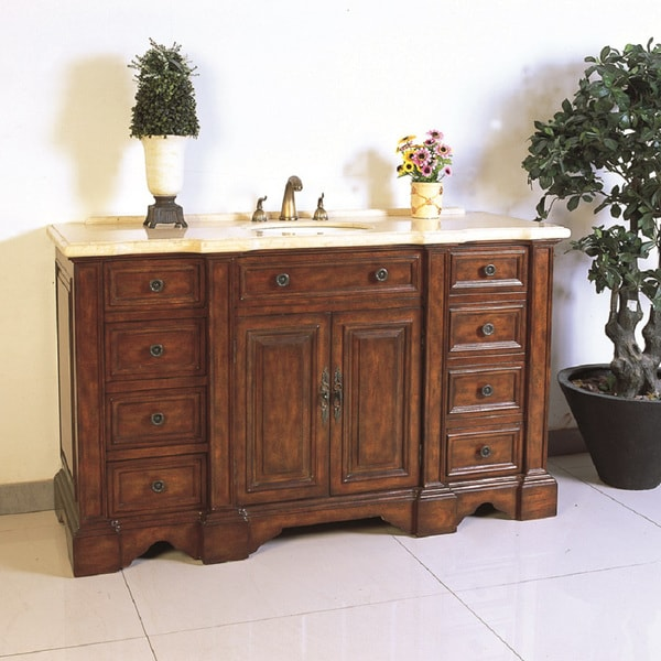 Shop mable top 58 5 inch single sink bathroom vanity free shipping today 7858178 60 in bathroom vanities with single sink
