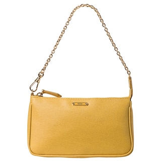 Fendi 'Crayon' Yellow Saffiano Leather Pouchette Bag