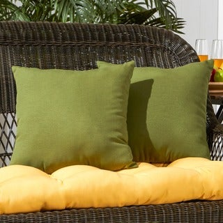 17-inch Outdoor SummersideGreen Square Accent Pillow (Set of 2)