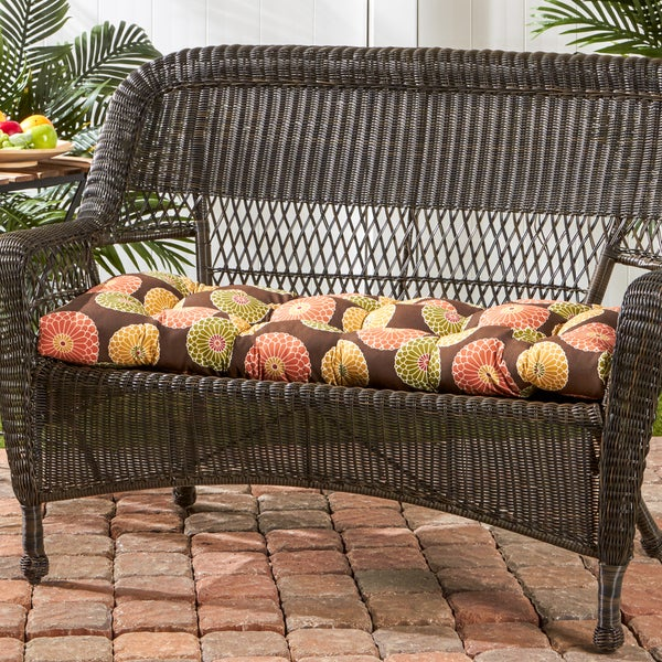 44 Inch Outdoor Flowers On Chocolate Swing Bench Cushion