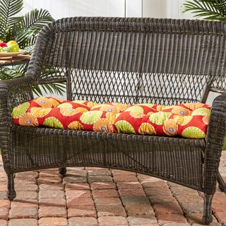 44-inch Outdoor Flowers on Red Swing/ Bench Cushion