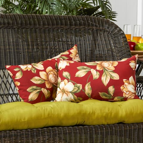 Dunedin Rectangular Outdoor 12-inch x 19-inch Floral Accent Pillows (Set of 2) by Havenside Home - 12h x 19l