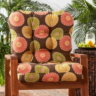 Outdoor Flowers on Chocolate Seat/ Back Chair Cushion