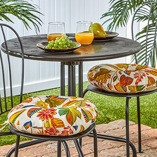 Outdoor 15-inch Esprit Floral Bistro Chair Cushions (Set of 2) - 15w x 15l