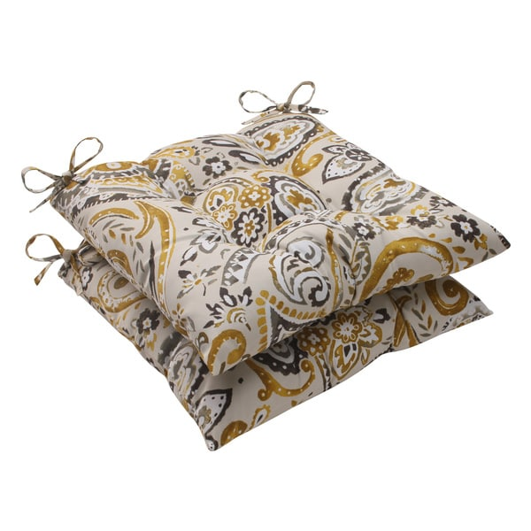Pillow Perfect Outdoor Paisley Tufted Seat Cushions (Set of 2)