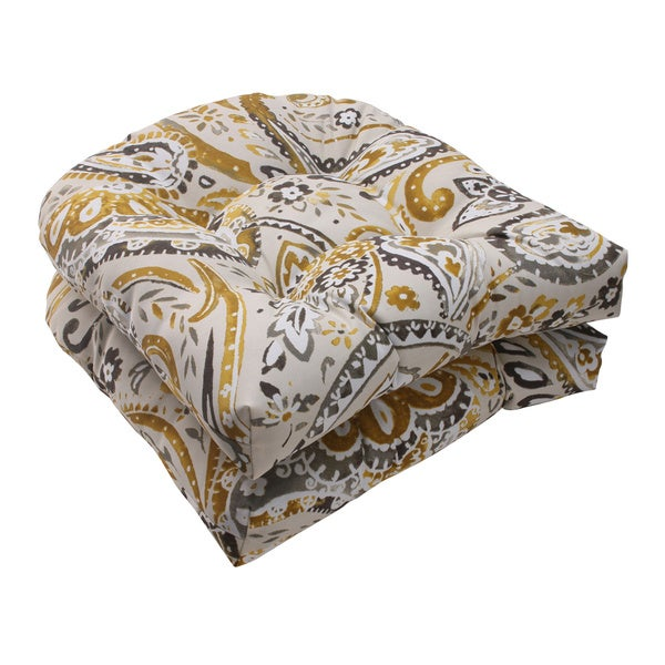 Pillow Perfect Outdoor Paisley Wicker Seat Cushions (Set of 2)