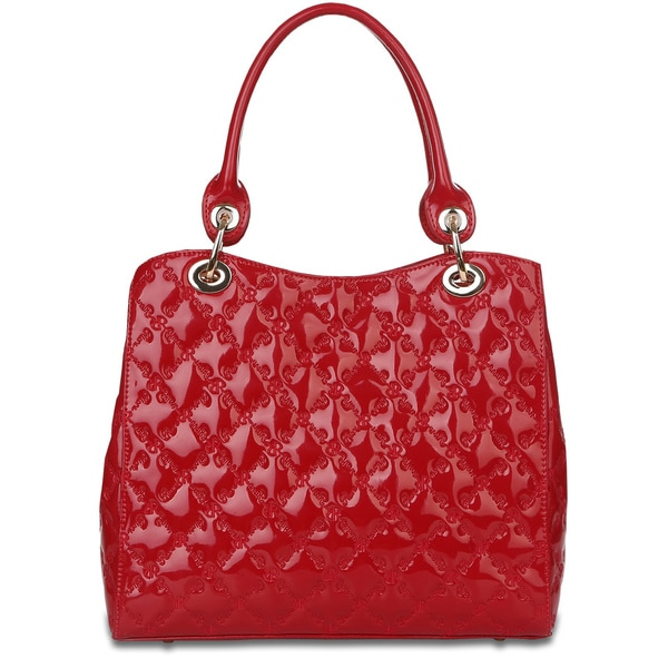 Rioni Tessere 'The Lady' Red Patent Leather Signature Embossed Handbag