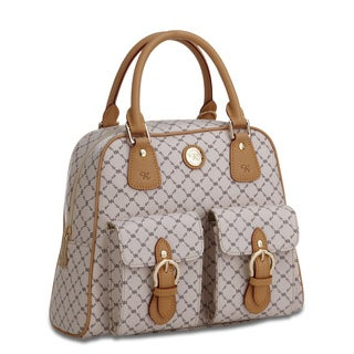 Rioni Signature Vanilla and Natural Top-handle Structured Shoulder Bag