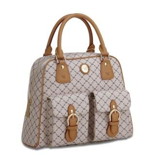 Rioni Signature Vanilla and Natural Top-handle Structured Shoulder Bag