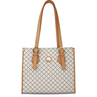 Rioni Signature Vanilla and Natural Zip-top Tote Bag