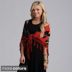 Aris A Floral Sequin Velvet Silk Square Scarf