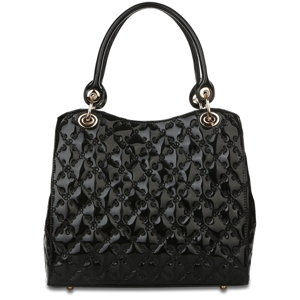 Rioni Tessere 'The Lady' Black Patent Leather Signature Embossed Handbag