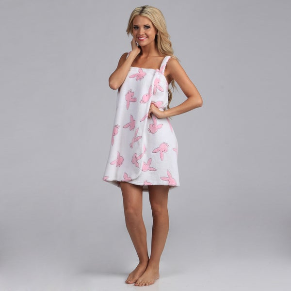 Playboy Intimates Women's Bunny Print Plush Wrap Spa Robe