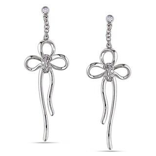 Miadora 14k White Gold Diamond Bow Dangle Earrings