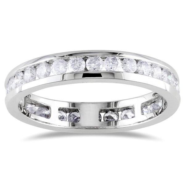 Miadora Signature Collection 14k White Gold 1ct TDW Certified Diamond Channel Eternity Ring (G-H, I1, IGL)