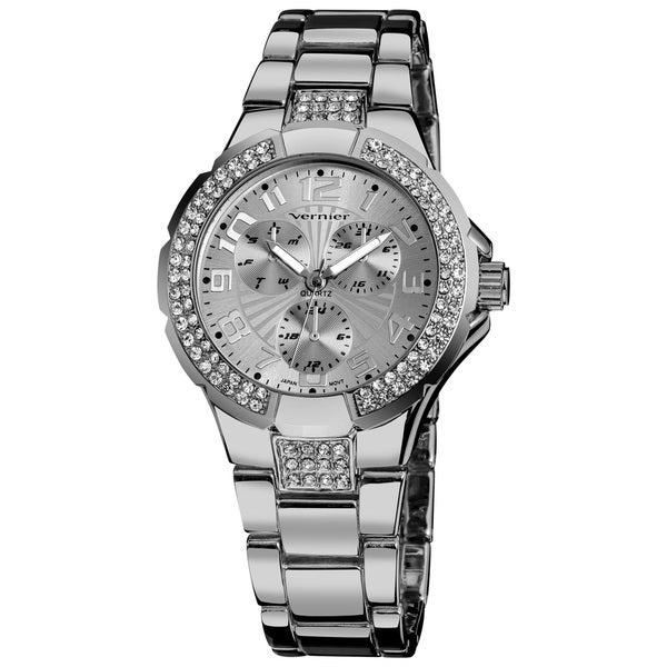 Vernier Ladies Crystal Stone Sport Chrono-Look Bracelet Fashion Watch