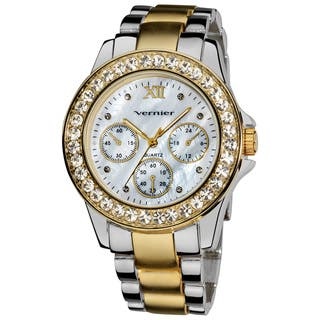 Vernier Ladies Dazzling Boyfriend Mother of Pearl Dial Faux-Chrono Bracelet Watch|https://ak1.ostkcdn.com/images/products/7858565/Vernier-Ladies-Dazzling-Boyfriend-Mother-of-Pearl-Dial-Faux-Chrono-Bracelet-Watch-P15244335.jpg?impolicy=medium
