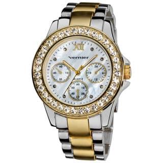 Vernier Ladies Dazzling Boyfriend Mother of Pearl Dial Faux-Chrono Bracelet Watch|https://ak1.ostkcdn.com/images/products/7858565/Vernier-Ladies-Dazzling-Boyfriend-Mother-of-Pearl-Dial-Faux-Chrono-Bracelet-Watch-P15244335.jpg?impolicy=medium