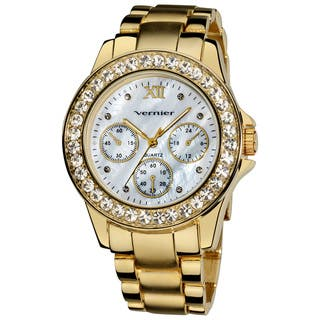 Vernier Ladies Dazzling Boyfriend Mother of Pearl Dial Faux-Chrono Bracelet Watch|https://ak1.ostkcdn.com/images/products/7858566/Vernier-Ladies-Dazzling-Boyfriend-Mother-of-Pearl-Dial-Faux-Chrono-Bracelet-Watch-P15244336.jpg?impolicy=medium