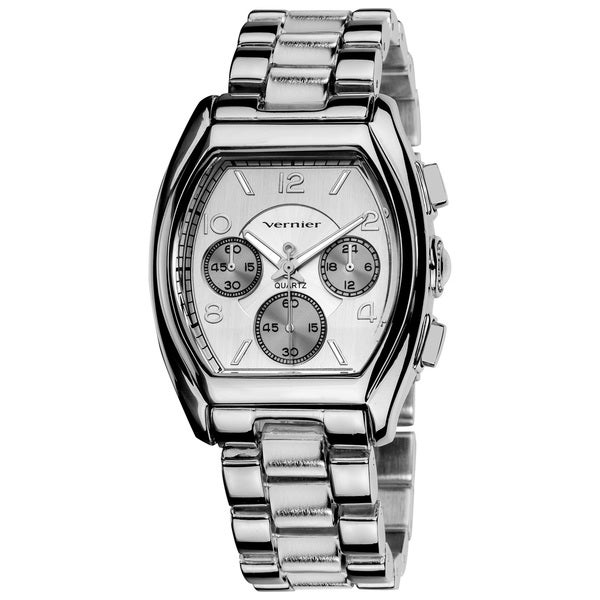 Vernier Ladies Boyfriend Rose Tone Tonneau Faux-Chrono Bracelet Watch