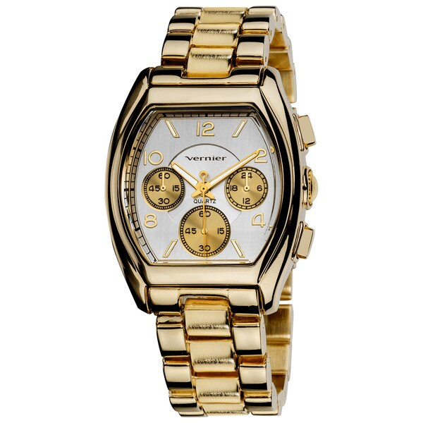 Vernier Ladies Boyfriend Rose-Tone Tonneau Mineral-Crystal Faux-Chrono Bracelet Watch