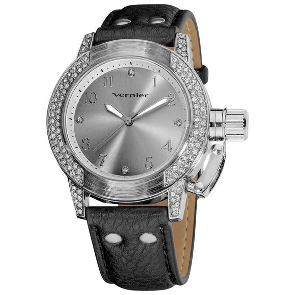 Vernier Ladies Oversized Crown-Protector Strap Watch