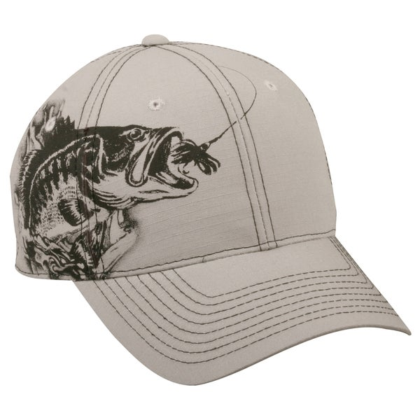 Jumping Bass White Adjustable Fishing Hat