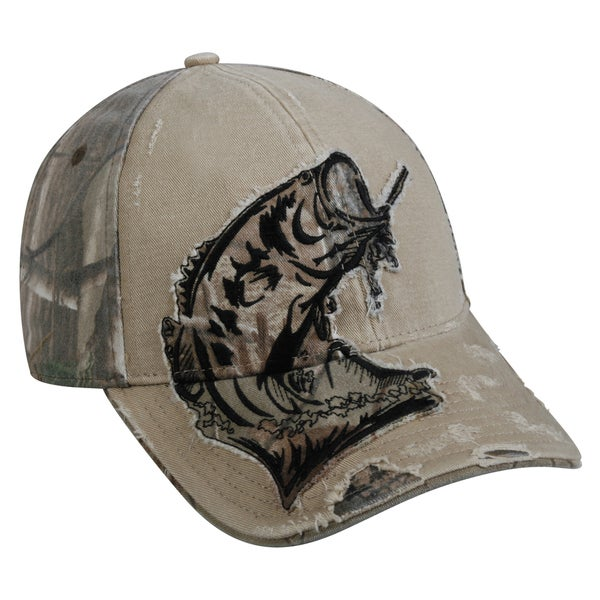 Bass camo patch adjustable fishing hat free shipping on for Bass fishing hats