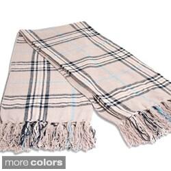 grand bazaar chenille plaid oscar throw in beige brown - Chenille Blanket